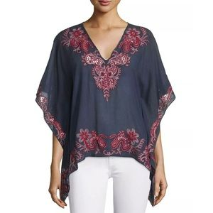 Anthropologie TRYB Sahara Mural Embroidered Top